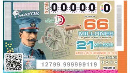 Billete de la Lotería Nacional por centenario del fusilamiento del General Felipe Ángeles.