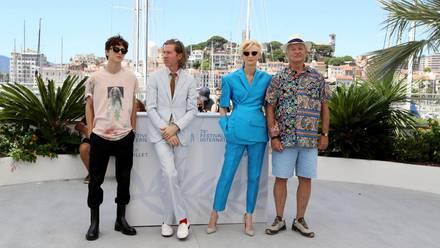 Timothée Chalamet, Wes Anderson, Tilda Swinton y Bill Murray