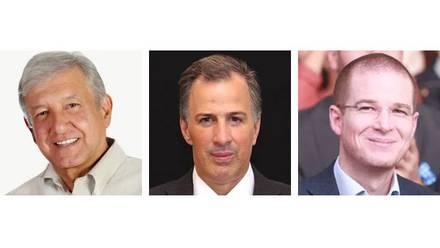 Andrés Manuel López Obrador, José Antonio Meade, Ricardo Anaya.Encuesta de México Elige y SDPnoticias.