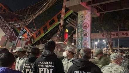 Elementos de la PDI en el accidente del Metro
