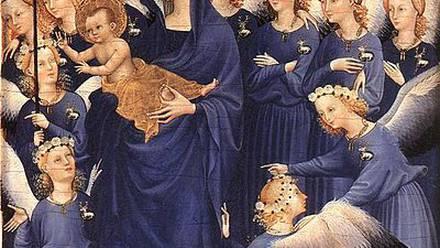 Virgen y niño con ángeles