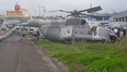 Helicóptero de la Secretaría de Marina que cayó en Hidalgo