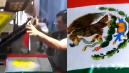 Escudo de México pintado en serigrafía.