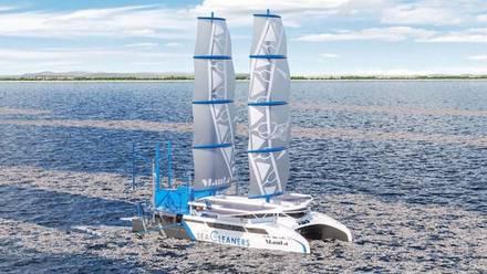 'Manta', el velero que recoge plásticos del mar