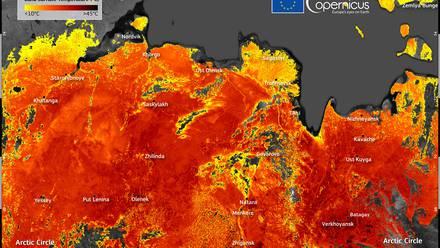 Imagen térmica de Siberia a 48º