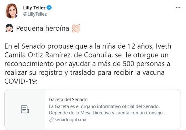 Lilly Téllez pide reconocimiento para Camila, la niña que ayudó a su comunidad en la pandemia