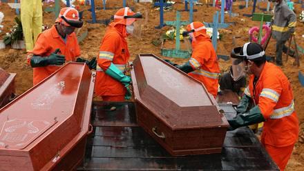 Entierro masivo en Manao, Brasil, de víctimas de Covid-19.