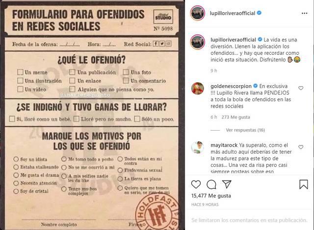 Lupillo Rivera responde a acusaciones de violencia de género