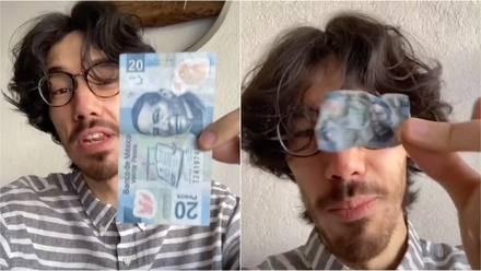 Billete de 20 pesos se encoge al calentarse